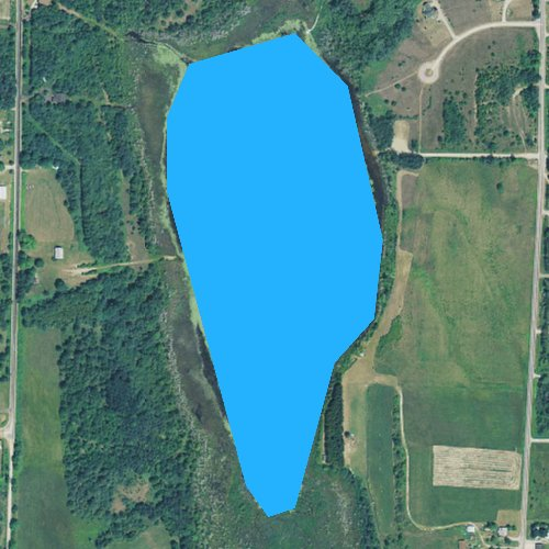 Fly fishing map for Adams Lake, Michigan
