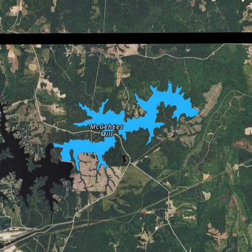 Fly fishing map for After Bay Reservoir, North Carolina
