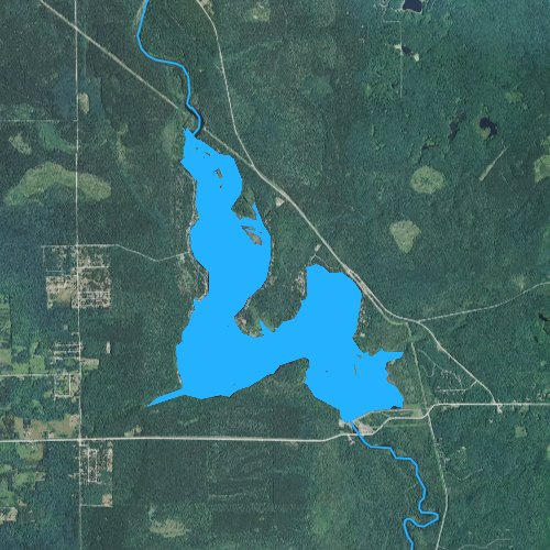 Fly fishing map for Alcona Dam Pond, Michigan