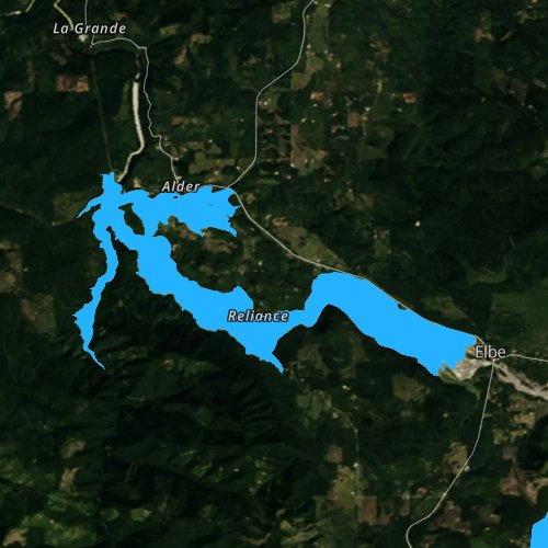 Fly fishing map for Alder Lake, Washington