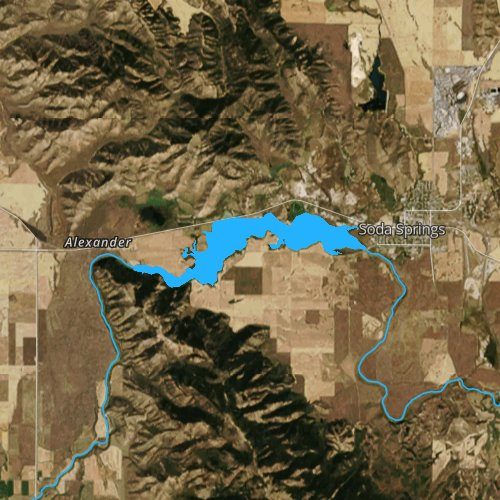 Fly fishing map for Alexander Reservoir, Idaho