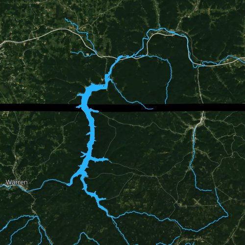 Fly fishing map for Allegheny Reservoir, Pennsylvania