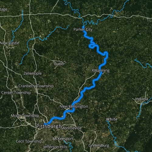 Fly fishing map for Allegheny River: Lower, Pennsylvania