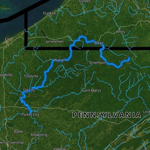 Fly fishing map for Allegheny River: Upper, Pennsylvania