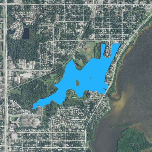 Fly fishing map for Alligator Lake, Florida