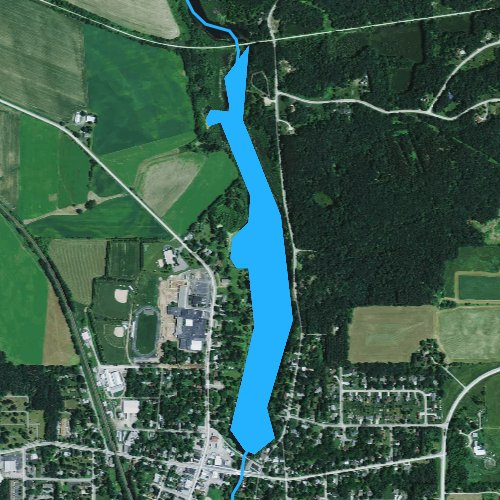 Fly fishing map for Amherst Millpond 90, Wisconsin
