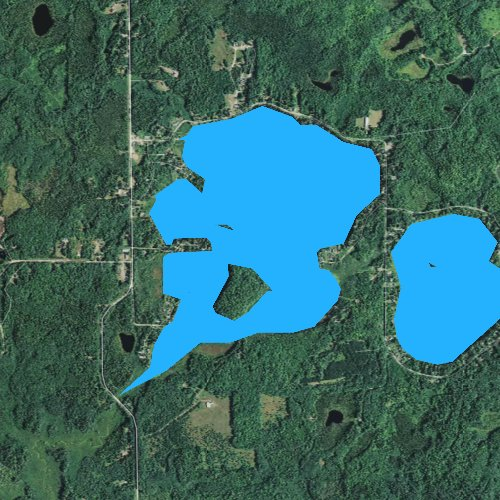 Fly fishing map for Amnicon Lake, Wisconsin