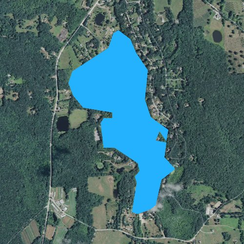Fly fishing map for Amos Lake, Connecticut