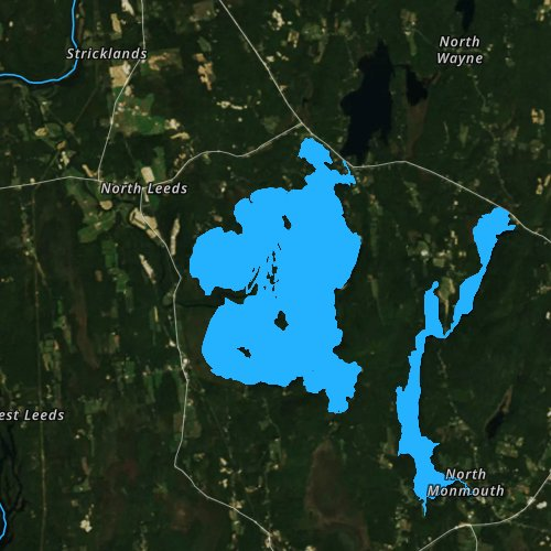 Fly fishing map for Androscoggin Lake, Maine