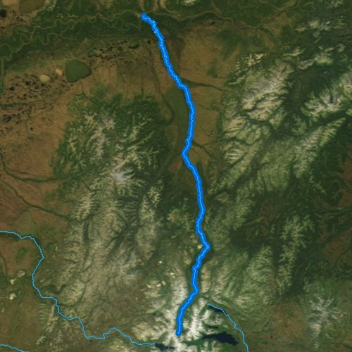 Fly fishing map for Aniak River, Alaska