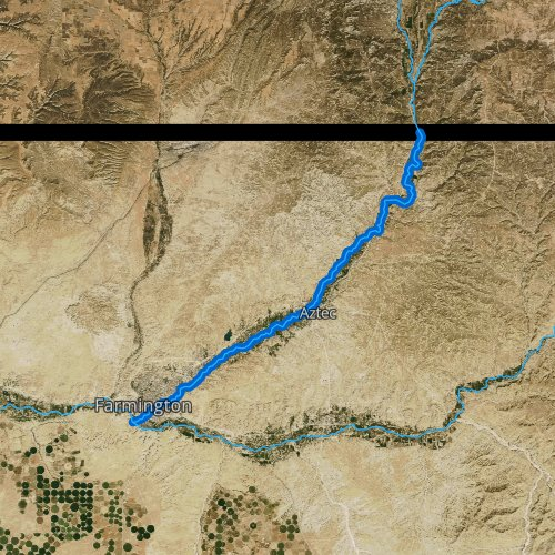 Fly fishing map for Animas River, New Mexico