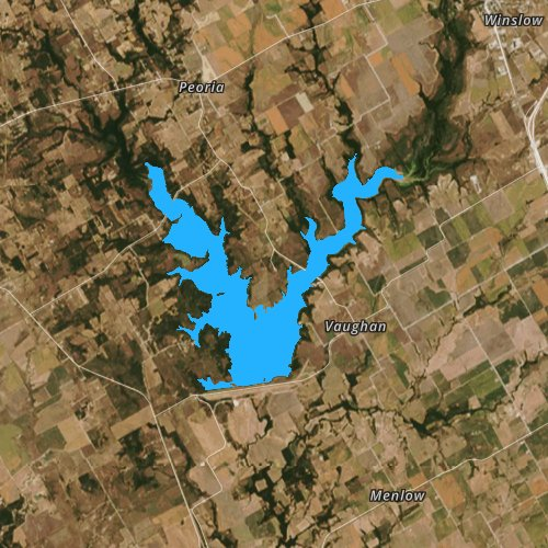 Fly fishing map for Aquilla Lake, Texas