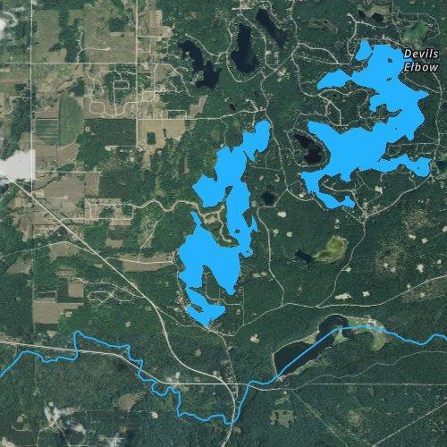 Fly fishing map for Arbutus Lake, Michigan