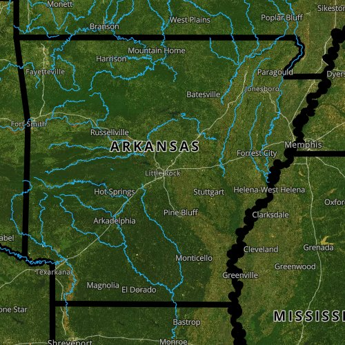 Fly fishing report and map for Arkansas.