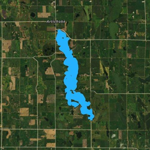Fly fishing map for Artichoke Lake, Minnesota