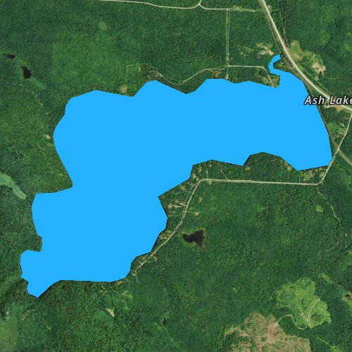 Fly fishing map for Ash Lake, Minnesota