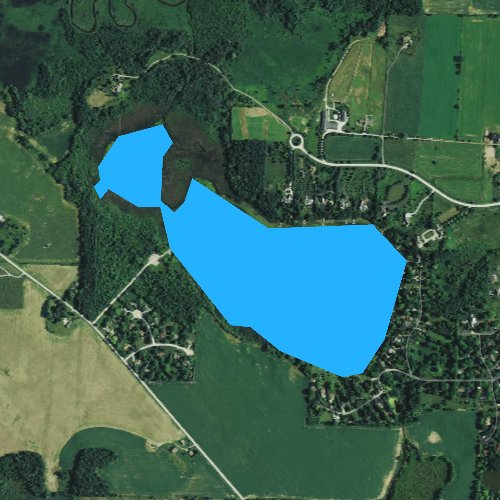 Fly fishing map for Ashippun Lake, Wisconsin