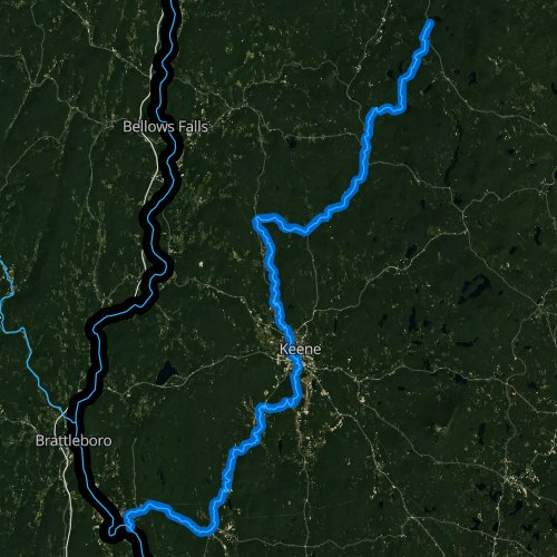 Fly fishing map for Ashuelot River, New Hampshire