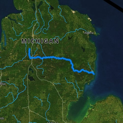Fly fishing map for Au Sable River, Michigan