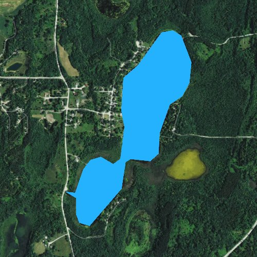 Fly fishing map for Auburn Lake, Wisconsin