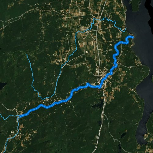 Fly fishing map for Ausable River, New York