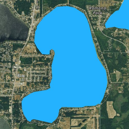 Fly fishing map for Austin Lake, Michigan