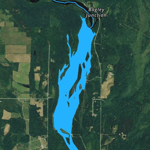 Fly fishing map for Bagley Flowage 1061, Wisconsin