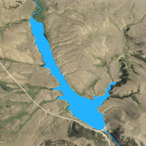Fly fishing map for Bair Reservoir, Montana