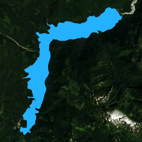 Fly fishing map for Baker Lake, Washington