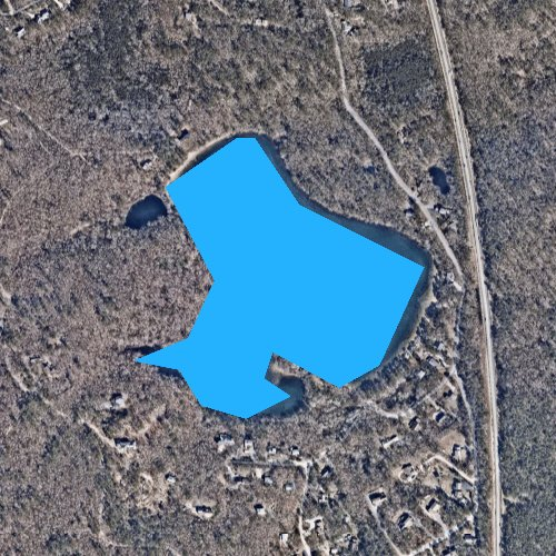 Fly fishing map for Baker Pond, Massachusetts