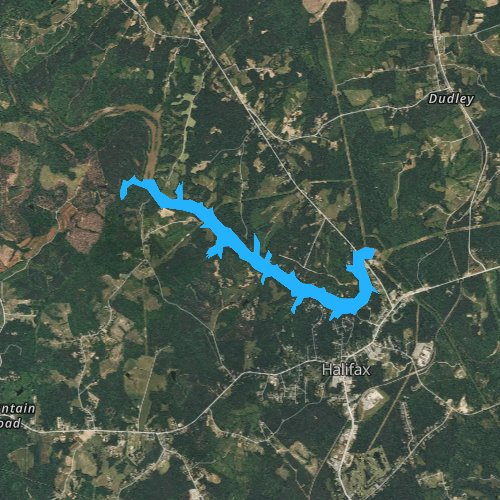 Fly fishing map for Banister Lake, Virginia