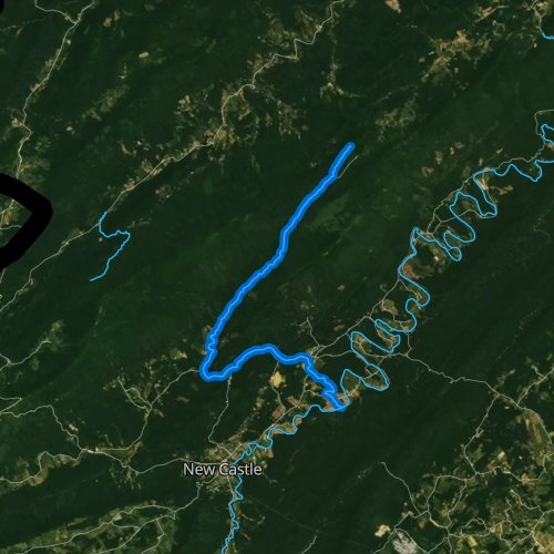 Fly fishing map for Barbours Creek, Virginia