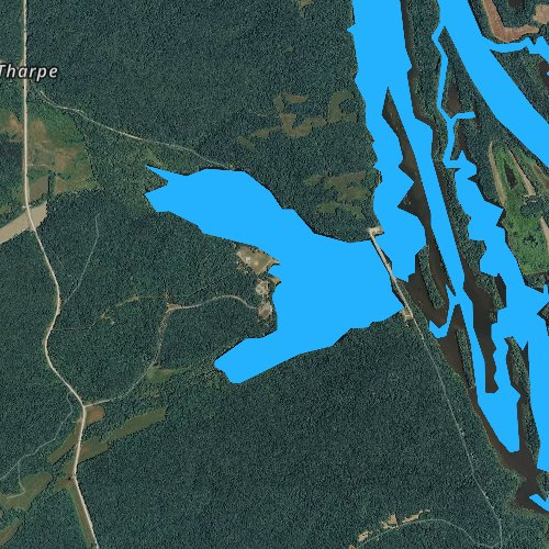 Fly fishing map for Bards Lake, Tennessee