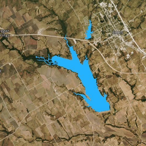 Fly fishing map for Bardwell Lake, Texas