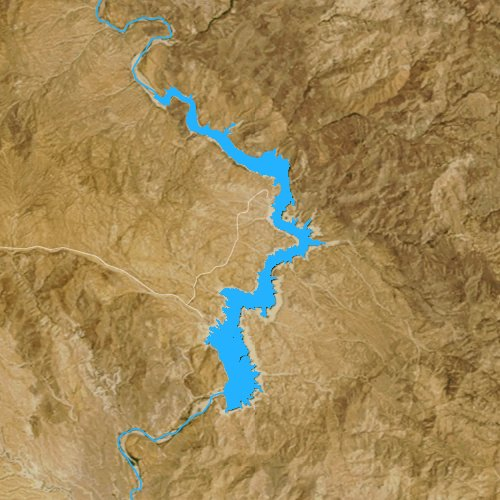 Fly fishing map for Bartlett Reservoir, Arizona