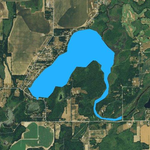 Fly fishing map for Barton Lake, Michigan