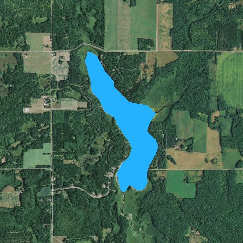 Fly fishing map for Bashaw Lake, Wisconsin