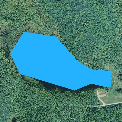 Fly fishing map for Basin Brook Reservoir, New Hampshire