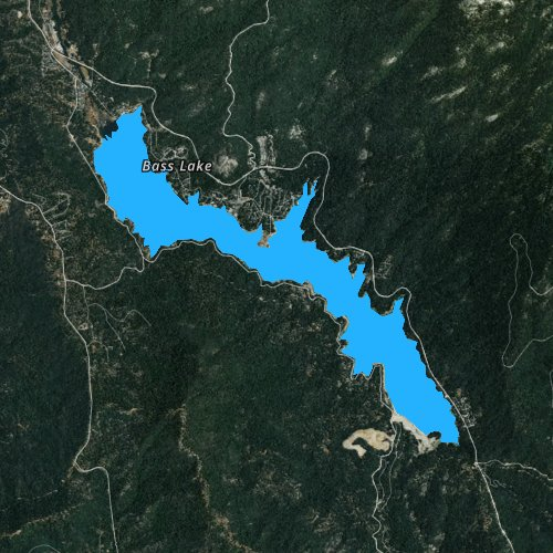 Fly fishing map for Bass Lake, California