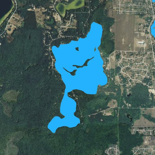 Fly fishing map for Bass Lake: Grand Traverse, Michigan