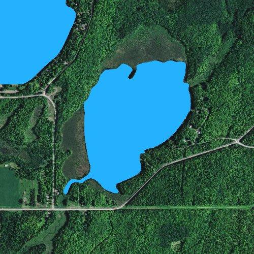 Fly fishing map for Bass Lake: Iron, Michigan