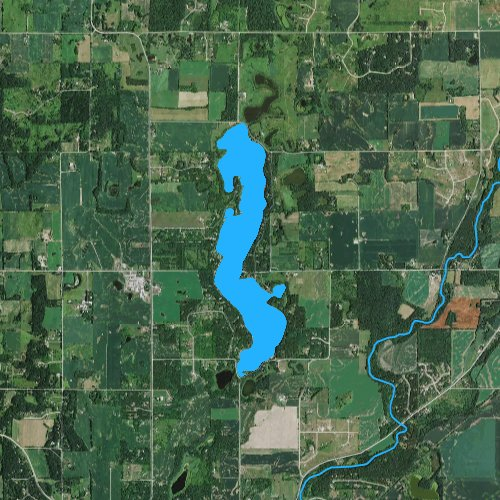 Fly fishing map for Bass Lake: St. Croix, Wisconsin