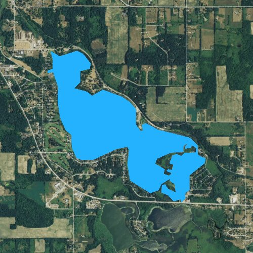 Fly fishing map for Baw Beese Lake, Michigan