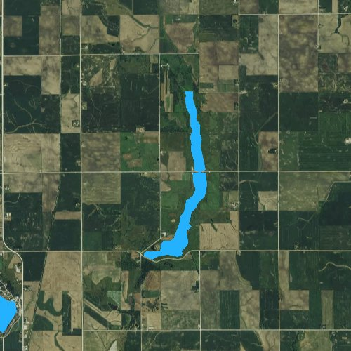 Fly fishing map for Bays Branch Lake, Iowa