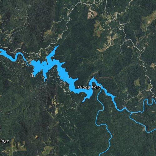 Fly fishing map for Bear Creek Lake, North Carolina