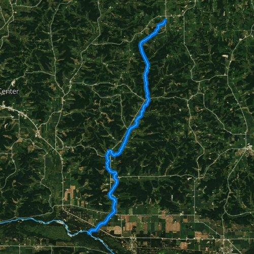 Fly fishing map for Bear Creek, Wisconsin