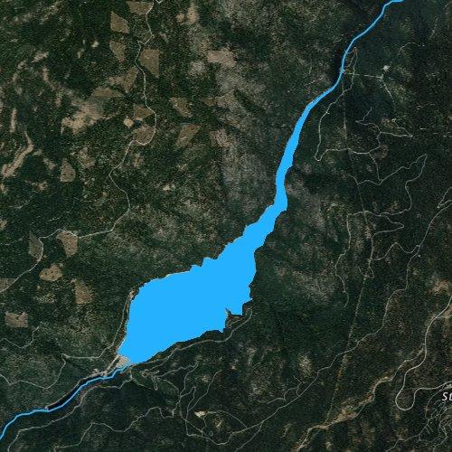 Fly fishing map for Beardsley Lake, California