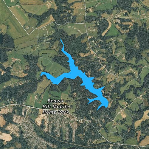 Fly fishing map for Beaver Creek Reservoir, Virginia