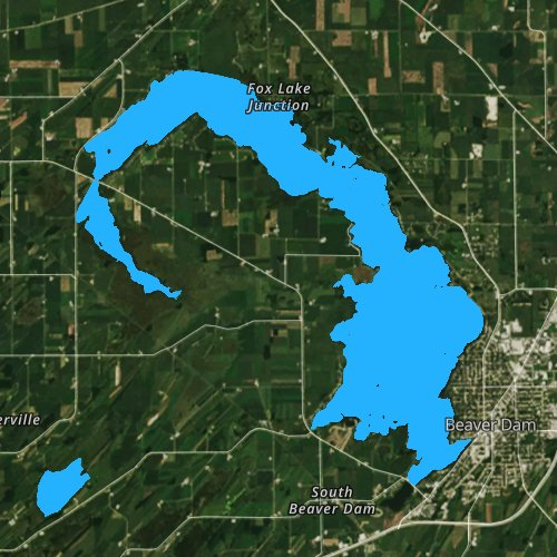 Fly fishing map for Beaver Dam Lake: Dodge, Wisconsin