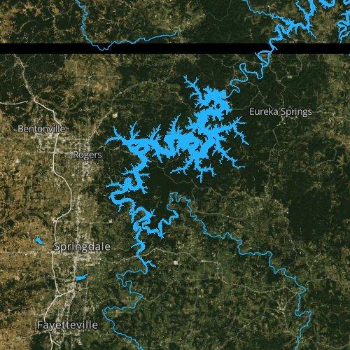 Fly fishing map for Beaver Lake, Arkansas